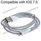 IOS7.0 универсальный и высококачественный USB-кабель для зарядки и передачи данных для iPhone 5/iPad 4/iPad Mini.(Цвет - белый)