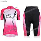 XL Size Comfortable Meshes Fabric Women Short Sleeve Cycling Suit Jersey Set for Summer (Pink and Black) (PINK) (XL)