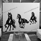Стильная декоративная настенная наклейка с изображением лошадей