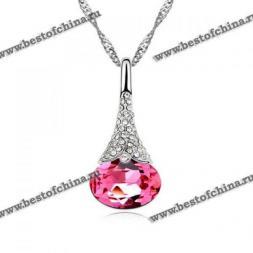 Восхитительное ожерелье украшенное прекрасным кулоном в виде капли с камнями.(Цвет - розовый)