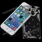 Модный, восхитительный корпус из жёсткого пластика украшенный 3D розами и кристаллами для iPhone 5C.(Цвет - чёрный)