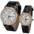 Rosivga парные часы украшенные круглым циферблатом, четырьмя точками и прямоугольниками, указывающими время, и кожаным ремешком.(Цвет - чёрный)