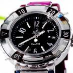 Smays A1136 прекрасные женские часы украшенные интересным циферблатом круглой формы и силиконовым ремешком с камнями циркон.(Цвет - фиолетовый, страна-производитель - Гонг-Конг)