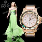 Smays A1023 прекрасные женские часы украшенные круглым циферблатом с камнями циркон и модным браслетом из керамики.(Цвет - золотистый, страна-производитель - Гонг-Конг)