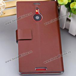 Великолепный защитный чехол из искусственной кожи и пластика украшенный функцией подставки и карманом для визиток для Nokia Lumia 1520.(Цвет - коричневый)