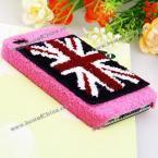 Великолепный защитный корпус украшенный изображением плюшевого Английского флага для iPhone 4/4S.(Цвет - розовый)