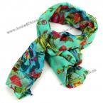 Элегантный шарф, яркий цветочный принт(зеленый)