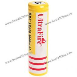 Аккумуляторная Li-ion батарея UltraFire 18650 3.7V 5000mAh- Желтый (1-шт, без защитной схемы)