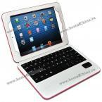 """2 в 1 кожаный чехол украшенный съёмной беспроводной клавиатурой и подставкой в виде буквы """"A"""" для iPad Mini 2.(Цвет - белый и тёмно-розовый)"""