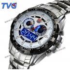 TVG светодиодные мужские часы с двойным механизмом, светящимися стрелками и браслетом из нержавеющей стали.(Цвет - белый)