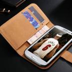 Защитные чехлы двух видов - из натуральной кожи с вертикальной застёжкой и из натуральной кожи с функцией подставки и карманом для визиток для Samsung Galaxy S3 i9300.