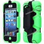 Анти-ударный защитный чехол из пластика и термопластичного полиуретана с вращающейся подставкой для iPhone 5C.(Цвет - зелёный)