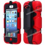 Анти-ударный защитный чехол из пластика и термопластичного полиуретана с вращающейся подставкой для iPhone 5C.(Цвет - красный)