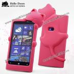 Hello Deere Diffie Cat Series Silica Gel Material Protective Case Cover for Nokia Lumia 920 (ROSE MADDER)