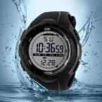 Skmei мужские цифровые водонепроницаемые часы с круглым циферблатом, светодиодной подсветкой и резиновым ремешком.