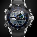 WEIDE мужские водонепроницаемые кварцевые часы с круглым циферблатом, светодиодной подсветкой и резиновым ремешком.