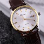 Водонепроницаемые кварцевые мужские часы с кожаным ремешком. (QZ024)