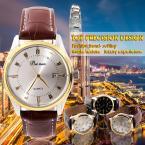 Мужские кварцевые часы с кожаным ремешком.(QZ024)