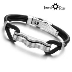 Fashion Rubber Bangle Bracelet 2014 Desinger Silicone Wristband 316L Stainless Steel Men's Bracelet (JewelOra BA100827)