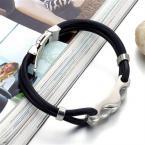 Fashion Rubber Bangle Bracelet 2014 Desinger Silicone Wristband 316L Stainless Steel Men's Bracelet (JewelOra BA100827)