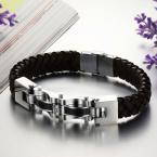 2014 New Arrival Hot Sell Wrap Bracelets  304 Stainless Steel Men's Leather Bracelet (JewelOra BA100806)
