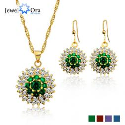 Xmas Gifts Gold Plated Jewelry Sets For Women Fashion Jewelry  #JS100340 Pendant Necklace Earring Jewelry Sets