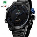 Weide мужские спортивные кварцевые водонепроницаемые часы с круглым циферблатом, светодиодной подсветкой и браслетом из нержавеющей стали.