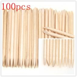 100Pcs Orange Wood Sticks Nail Art Care Salon Cuticle Pusher Remover Manicure Tool