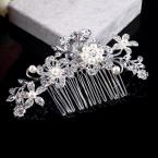 1pcs New Bridal Wedding Flower Silver Plated Stunning Sparkling Hair Comb