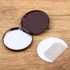 1 PCS Portable Cute Chocolate Cookie Shape Cosmetic Makeup Mirror + Comb Lady Girl