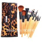 2014 Professional Makeup kits 12 PCs Brush Cosmetic Facial Make Up Set tools With Leopard Bag makeup brush tools