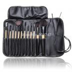2014 Brand new 12 PCS Makeup Brush Set with Black Leather Case Make Up Brushes
