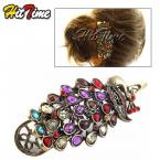 Retro Colorful Vintage Alloy Crystal Jewelry Peacock Hairpin Hair Clip Bronze #8897