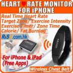 iPhone 4S 5 iPad Chest Strap Sport Calorie Free Apps Wireless Heart Rate Monitor