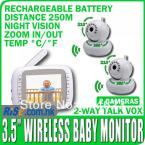 2 Cameras Digital Night Vision Pan Tilt PTZ Zoom Video 3.5 Wireless Baby Monitor