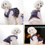 Модный джинсовый сарафан с горошками и воланами для собак. (Размер - XS/S/M/L/XL)