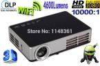2014 New black 4600 lumens DLP WiFi Full HD 1280 * 800 3D intelligent projector 2D to 3D projectors