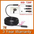 HD 720P IP67 Waterproof 7mm Lens USB Snake Inspection Camera Endoscope Borescope with 6 LED Light 7M