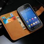 Genuine Leather Case For Samsung Galaxy Trend Lite S7390 S7392 Wallet Style Phone Bag With Stand 2 Card Holders 1 Bill Site