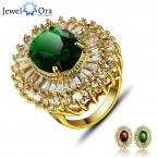 Party Fashion Golden Ring For Women Charming Oval Ring Gold Plated CZ Lady Ring (JewelOra RI101432)