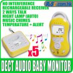 5pcs Digital LCD Audio Temperature Infant 2way Talk LED Wireless Baby Monitor