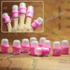 10PCS Pink Wearable Nail Art Acrylic Soakers Tips Polish Remover Removal Cap Tool