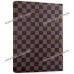 Защитный чехол из искусственной кожи и пластика с шахматным узором и вращающейся подставкой для iPad 2 /3 /4.(Цвет - коричневый)