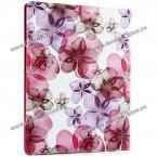 Защитный чехол из искусственной кожи и пластика с цветочным узором и вращающейся подставкой для iPad 2 /3 /4.(Цвет - тёмно-розовый)