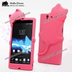 Hello Deere Diffie Cat Series Silica Gel Material Protective Case Cover for Sony Xperia Z L36h (ROSE MADDER)