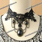 Retro Multi-Layered Gemstone Pendant Lace Necklace For Women (AS THE PICTURE)