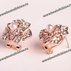 Pair of Elegant Faux Pearl and Rhinestone Embellished Stereoscopic Flower Earrings For Women (AS THE PICTURE)