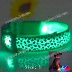 Excellent Sexy Leopard Print LED Collar Funny Luminous 2.5cm Wide Puppy Necklace Pet Decorative Props - 38 - 50cm Adjustable Extent (GREEN,M)