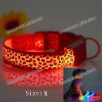 Excellent Sexy Leopard Print LED Collar Funny Luminous 2.5cm Wide Puppy Necklace Pet Decorative Props - 38 - 50cm Adjustable Extent (ORANGE,M)