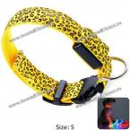 Excellent Sexy Leopard Print LED Collar Funny Luminous 2.5cm Wide Puppy Necklace Pet Decorative Props - 30 - 40cm Adjustable Extent (YELLOW,S)